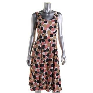 Anne Klein Womens Polka Dot Box Pleat Casual Dress - 12