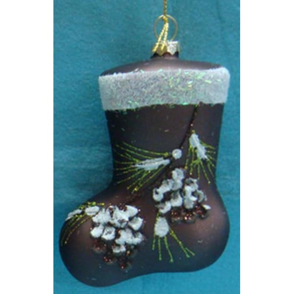 "4"" Enchanted Forest Brown Glass Christmas Stocking with Pine Cones Oranament"