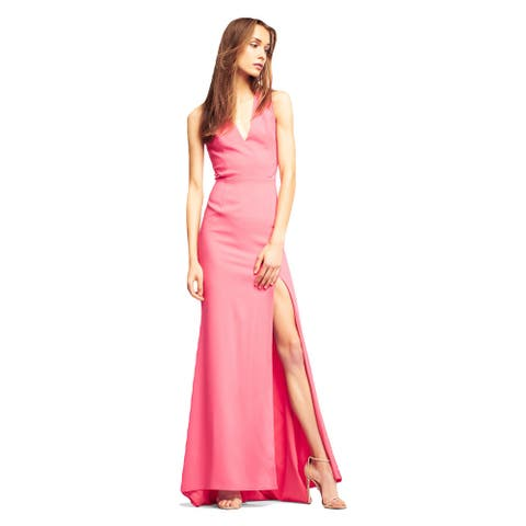 Aidan Mattox Dress Sleeveless Crepe Mermaid Gown with V-Neckline
