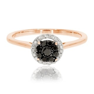 Brand New 0.31 Ctw Round Briliant Cut Black Color Diamond With Natural Diamond Engagement Ring