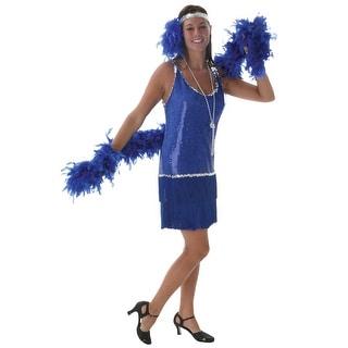 Plus Size Sequin & Fringe Blue Flapper