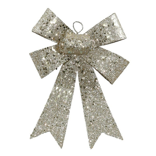 """7"""" Champagne Sequin and Glitter Bow Christmas Ornament"""