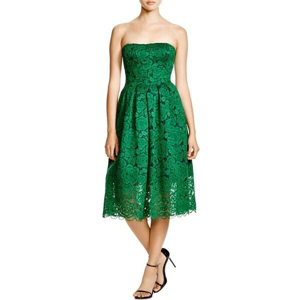 Vera Wang Womens Party Dress Lace Midi