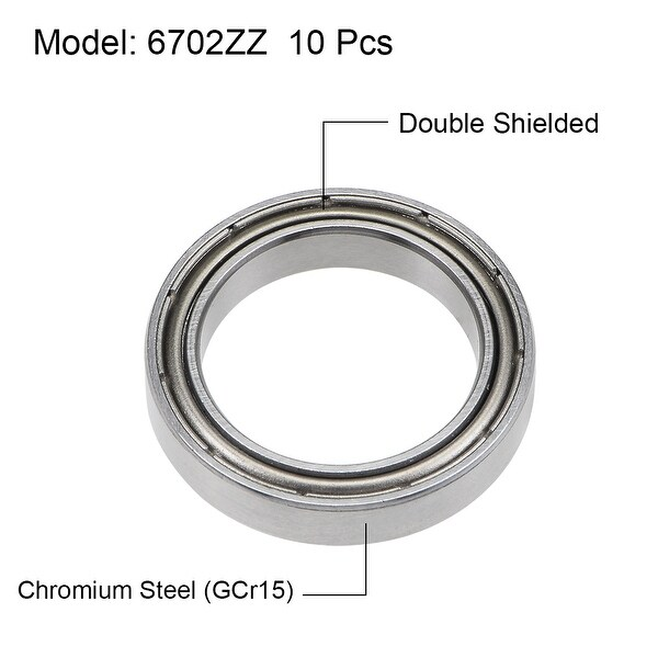 10PCS 6702ZZ Deep Groove Metal Double Shielded Ball Bearing 15mm*21mm*4mm