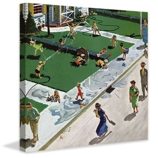Marmont Hill Water Fight Thornton Utz Painting Print on Canvas