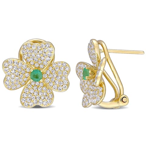 Miadora 18k Yellow Gold Emerald and 1ct TDW Diamond Cluster Floral Earrings - 14.9mm x 15.1mm x 9.3 mm