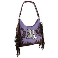 Fringed Western Style Studded Shoulder Bag w/Rhinestone Boots Accent