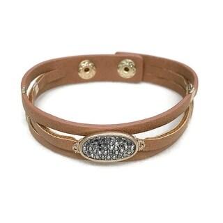 Potissi Crystal Oval Leather Bracelet