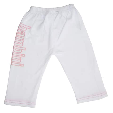 """6"""" Matte White Solid Large Whimsical Infant Girls Sweat Pants with Print"""