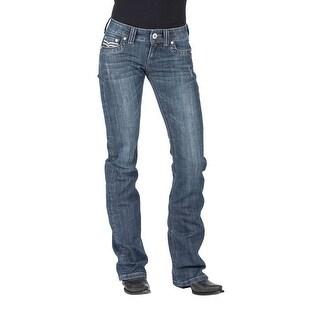 Stetson Western Jeans WoMens Bootcut Slim Fit Blue 11-054-0818-0382 BU (Option: 32 Inch)