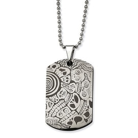 Chisel Stainless Steel Skulls Dogtag Pendant 24 Inch Necklace (1 mm) - 24 in