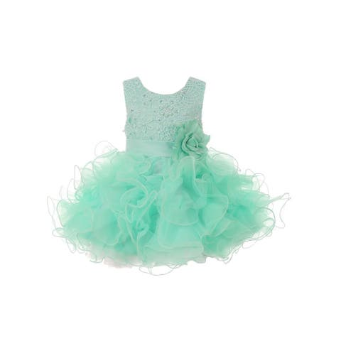 Baby Girls Mint Lace Sequin Multi Layer Ruffle Flower Girl Dress