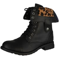 Refresh Terra-15 Women's Lace Up Back Zipper Mid-Calf Combat Boots - Brown