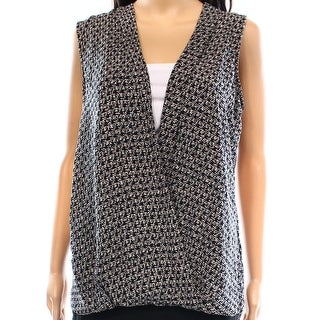 Max Studio NEW Black White Women's Size Large L Printed Wrap-Front Blouse