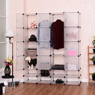 Costway DIY 16+8 Cube Portable Clothes Wardrobe Cabinet Closet Storage  Organizer W/Doors