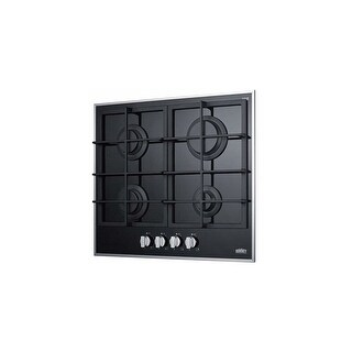 Summit GC424BGL 4-Burner Gas-On-Glass Cooktop W/Sealed Burners & Cast Iron Grate - Stainless Steel/Black - N/A