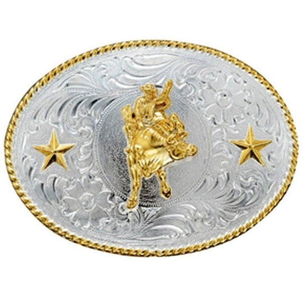 Nocona Western Belt Buckle Oval Bull Rider Silver Gold - 3 x 4