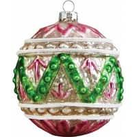 Holiday Splendor Glass Ornament Ball 3.5 in. - Glass Ornament