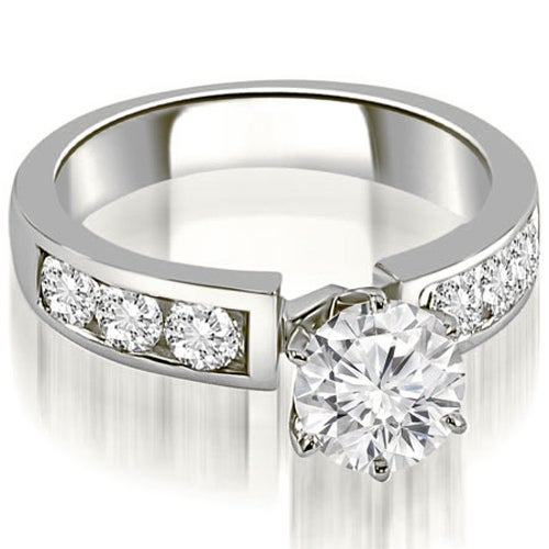 1.25 cttw. 14K White Gold Classic Channel Round Cut Diamond Engagement Ring