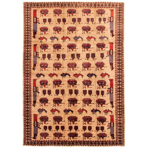 ECARPETGALLERY Hand-knotted Rare War Tan Wool Rug - 6'7 x 9'3