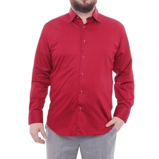 Cafebleu Long Sleeve Collared Button Down Men Regular Dress Button