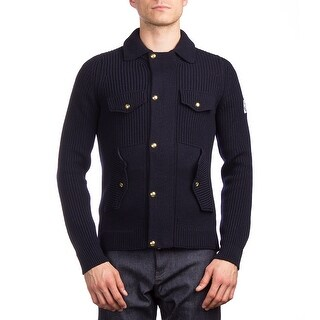 Moncler Men's Virgin Wool Single Breasted Jacket Navy Blue