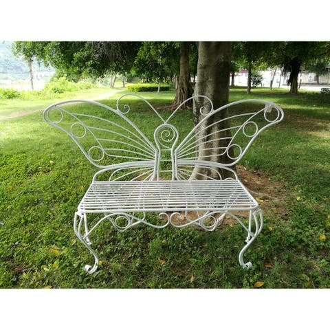 White Metal Butterfly Bench
