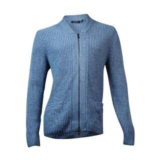 Nautica Men's Full-Zip Pocketed Knit Cardigan (L, Heather Blue) - L