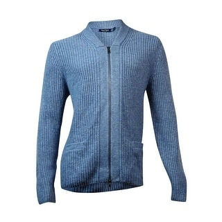 Nautica Men's Full-Zip Pocketed Knit Cardigan (M, Heather Blue) - M