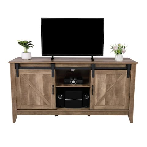 """66"""" Wide Barn Door Cabinet TV Stand Vintage Oak - 65 inches"""