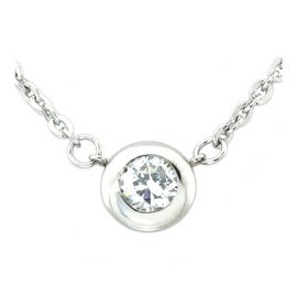 Stainless Steel 6mm Cubic Zirconia Necklace - 18 inches