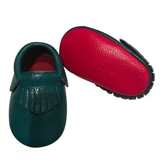 Baby Girls Dark Turquoise Red Soft Sole Faux Leather Tassel Moccasins 3-18M