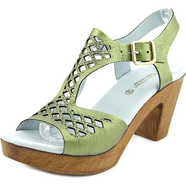 Eric Michael Tyra Open Toe Leather Platform Heel