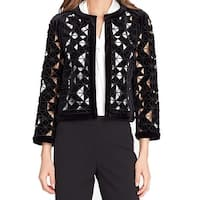 Tahari by ASL Black Women's Size 10 Laser Cut Velvet Jacket