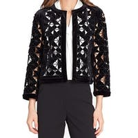 Tahari by ASL Black Women's Size 12 Laser Cut Velvet Blazer Jacket
