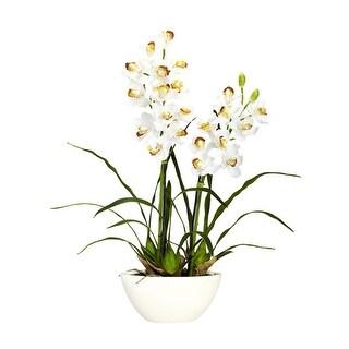 Nearly Natural Cymbidium with White Vase Silk Flower Arrangement - White