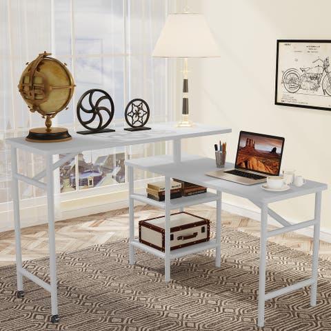 L Shaped Free Rotating Standing Desk Reversible Computer Desk