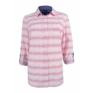 Tommy Hilfiger Women's Dot Print Tab Sleeve Shirt - m