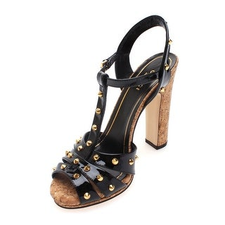 Gucci Women's Leather Open Toe Studded High Heel Sandals - 9.5 us (39.5 eur)