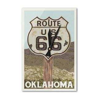 Oklahoma - Route 66 - Letterpress - LP Artwork (Acrylic Wall Clock)