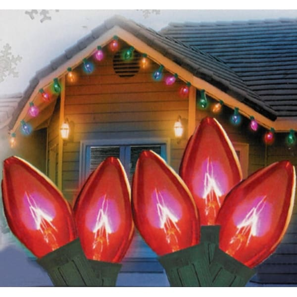 """Set of 25 Transparent Red C9 Christmas Lights 12"""" Spacing - Green Wire"""