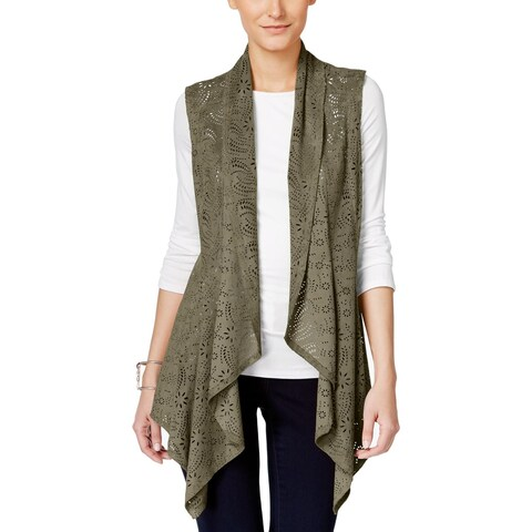 Vakko for INC Womens Cardigan Top Faux Suede Textured