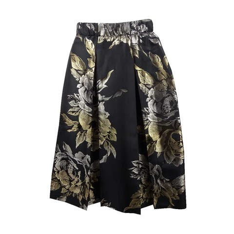 MSK Women's Metallic-Print Skirt (8, Gold/Black) - Gold/Black - 8