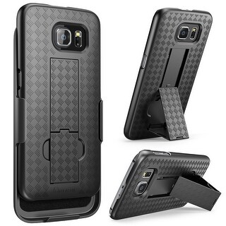 Galaxy S6 Case, i-Blason Transformer, Holster Case Combo with Kickstand and Locking Belt Swivel Clip-Black