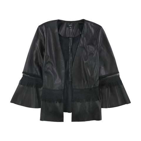Alfani Womens Lace Inset Faux-Leather Jacket, Black, Medium