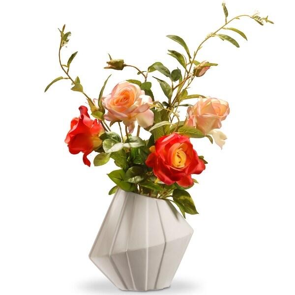 """22"""" Potted Rose Flowers – Ceramic vase - N/A"""