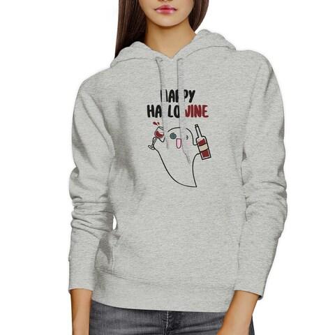Happy Hallowine Ghost Wine Grey Hoodies For Women Wine Lover Shirt