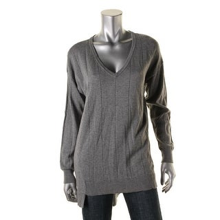 Vince Camuto Womens V-Neck Sweater Asymmetrical Hem Long Sleeves