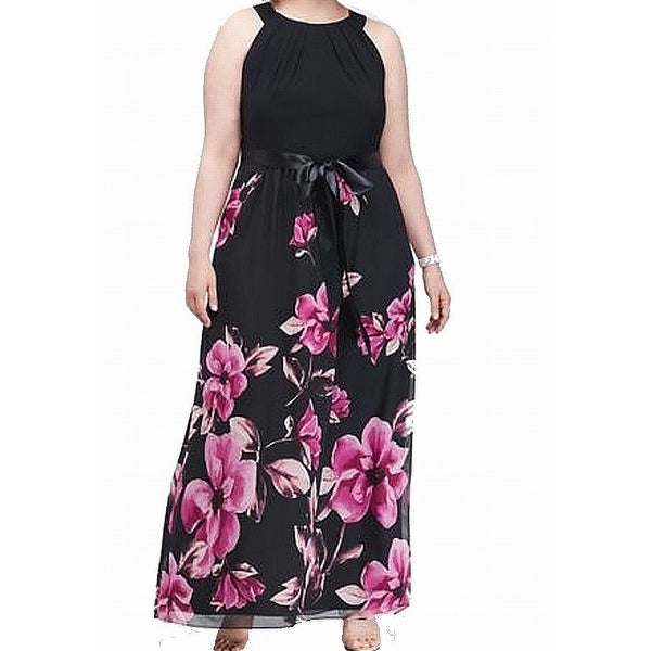 SLNY Navy Blue Pink Womens Size 18W Plus Floral Belted Gown Dress