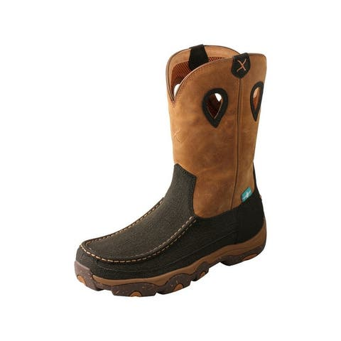 """Twisted X Western Boots Mens 11"""" WP Leather Charcoal Tan"""